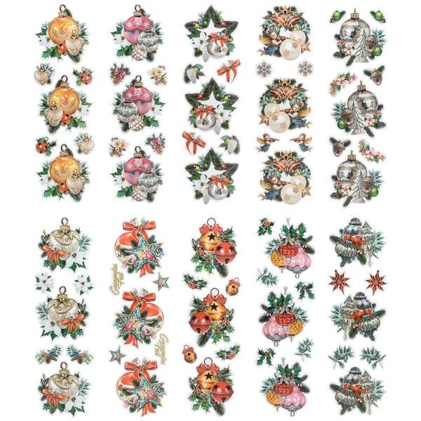 Transparent-Stickerbogen, Weihnachts-Baumschmuck, verschiedene Designs, 10cm x 30cm, 10 Bogen