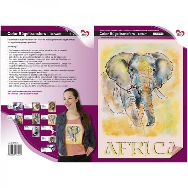 Color Bügeltransfers, DIN A4, Tierwelt, Elefant