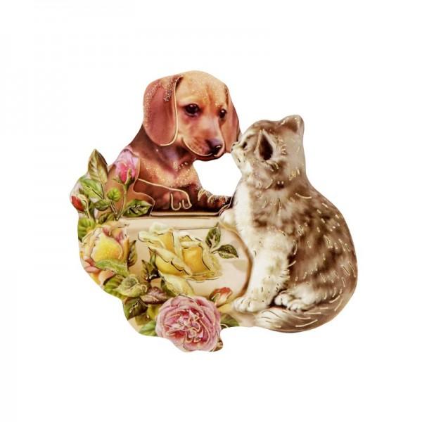 3-D Motiv, Hund & Katze, Gold-Gravur & Glimmerlack, 8 cm