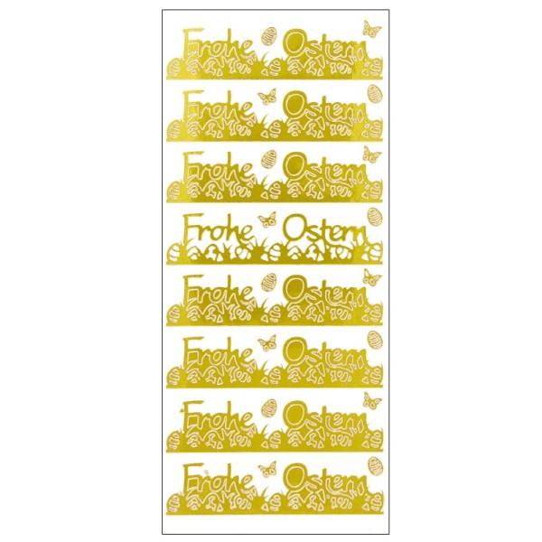 Sticker, Frohe Ostern, Spiegelfolie, gold