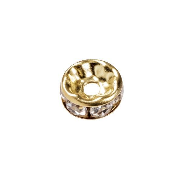 Strass-Rondell mit Strass-Steinen, Ø0,8 cm, 10 Stück, gold