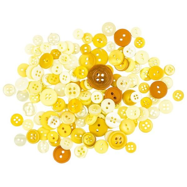 Farbige Knöpfe, 30g, Ø 9-18mm, verschiedene Gelbtöne