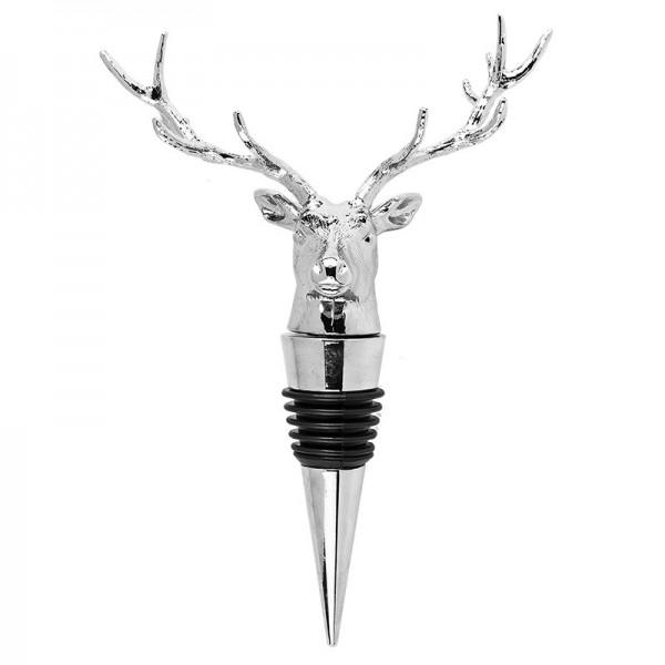 Design-Flaschenverschluss, Hirsch, 13cm hoch, silber