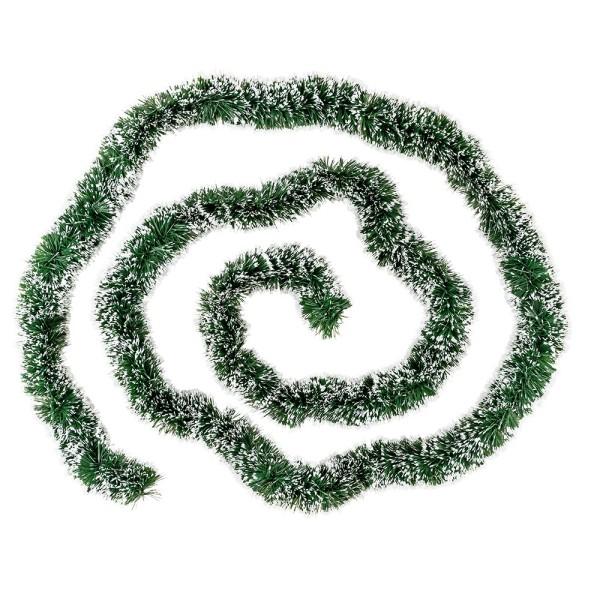 Lametta-Girlande, Deluxe, Duo Color, Ø 4cm, 2m lang, grün/weiß