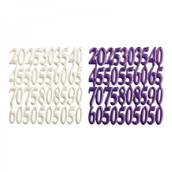 Wachsornament-Platten, Jubiläumszahlen, 6 Stück, perlmutt & violett