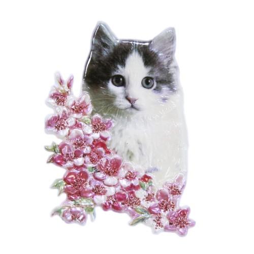 Wachsornament, Katze, farbig, geprägt, 8x6cm