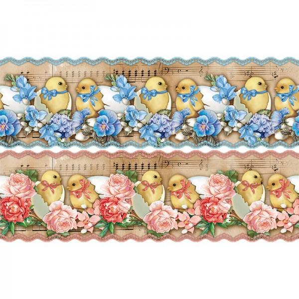 """Zauberfolien """"Nostalgie-Küken 2"""", Schrumpffolien für Eier mit 18cm x 14cm, 13cm hoch, 4 Stück"""