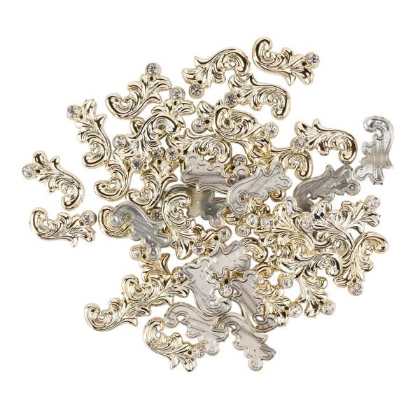 Premium-Schmucksteine, Ranken-Ornament, 1,1cm x 2cm x 0,3cm, hellgold, mit Glaskristallen, 45 Stück