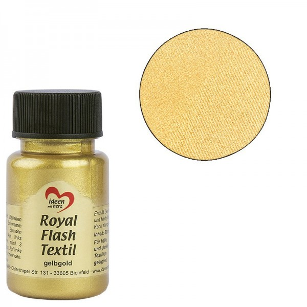 Royal Flash Textil, Glitzer-Metallic-Farbe, 50 ml, gelbgold