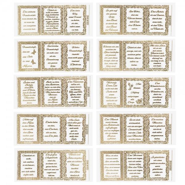 Gravur-Sticker, Lebensweisheiten 2, transparent/gold, 10 Bogen