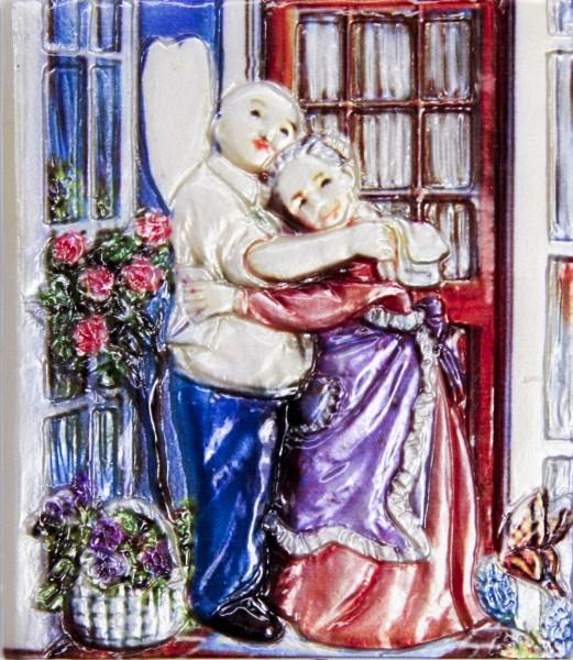 Wachsbild, Oma & Opa bei Umarmung, 8 x 7 cm