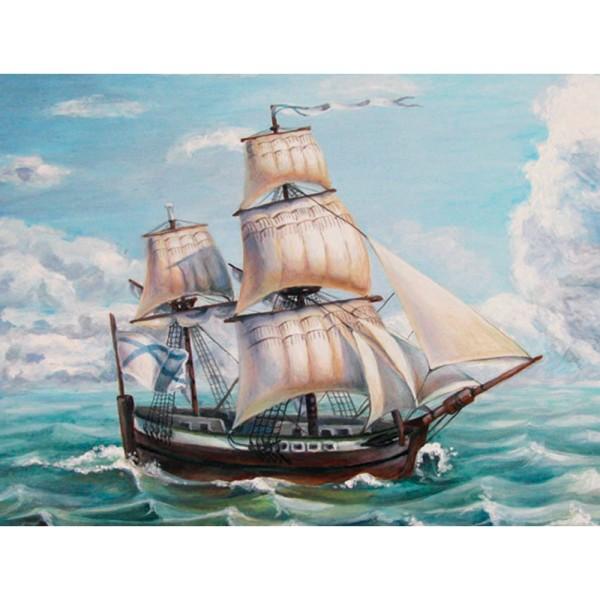 5D Diamond Painting, Segelschiff, 25cm x 35cm, Motivleinwand, runde Steinchen, inkl. Werkzeug