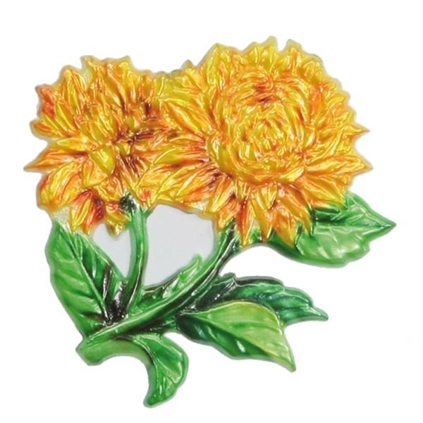 Wachsornament Dahlie, farbig, geprägt, 7 x 7 cm