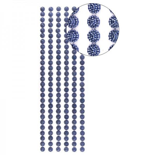 Halbperlen-Bordüren, Perlenblüte, 10cm x 30cm, selbstklebend, blau