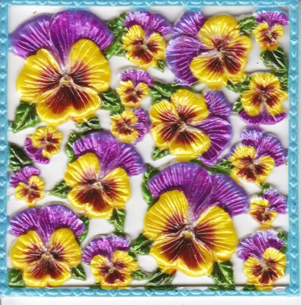 Wachsornament-Platte Stiefmütterchen,  10 x 10 cm