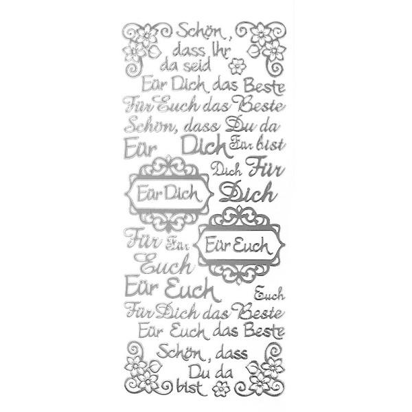 """Sticker, Schriften, """"Für Dich/Euch"""", uvm., Spiegelfolie, silber"""