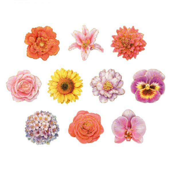 3-D Motive, Blüten mit Glimmer, ausgestanzt, 8-8,5cm, 10 Motive