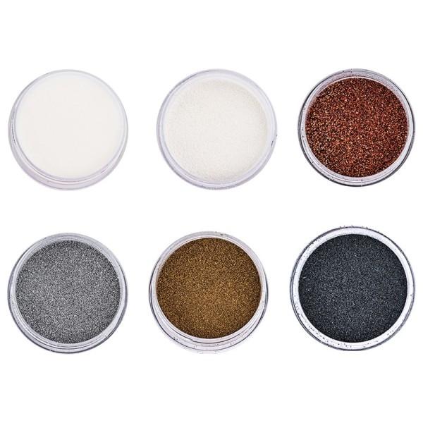 Embossing-Pulver, 6 Farben á 10ml, klar, weiß, kupfer, silber, gold, schwarz, 6 Stück