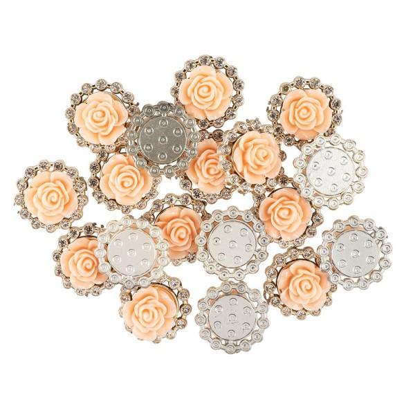 Premium-Schmucksteine, Rosenblüte 2, Ø 2cm, hellgold, mit Blüte in Lachs & Glaskristallen, 17 Stück