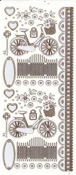 """Sticker, """"Marie Eve Bikes"""", Fahrrad, Perlmuttfolie, Goldkontur"""
