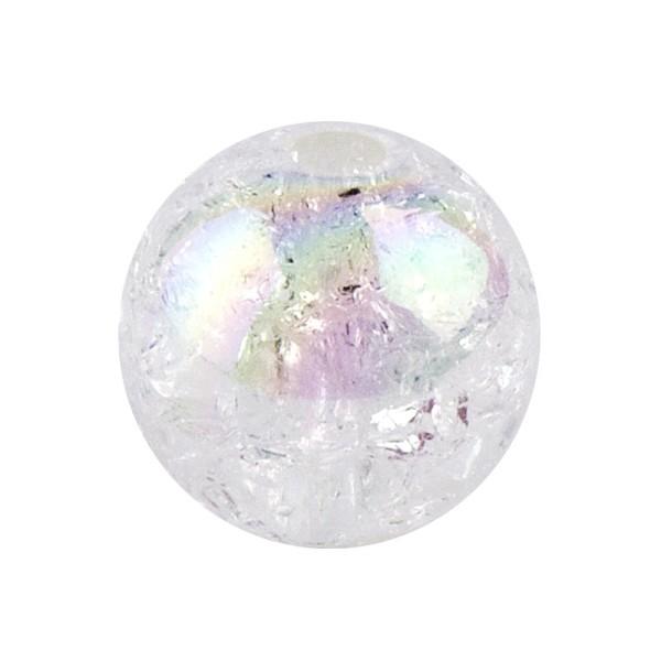 Perlen, Crackle, Ø 16mm, weiß-irisierend, 10 Stk.