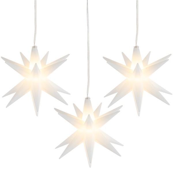3-D LED-Sterne, Ø 10cm, mit 16 Strahlen, weiß, 1 LED-Lämpchen in Warmweiß, inkl. Timer, 3 Stück