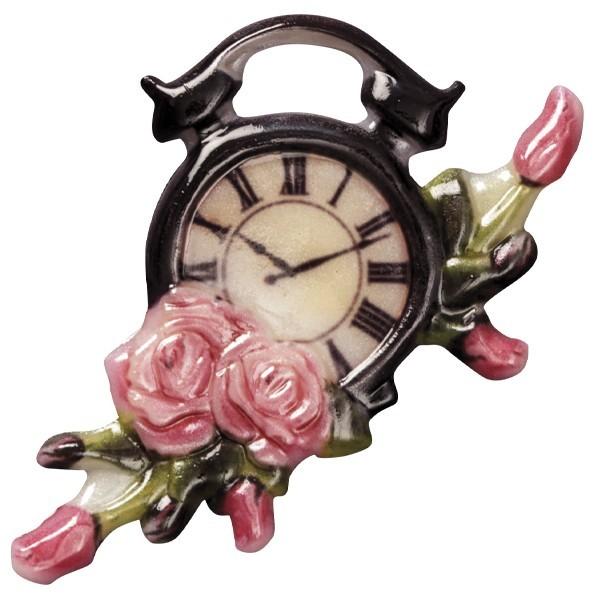 Wachsornament Uhr 1, farbig, geprägt, 7-8cm