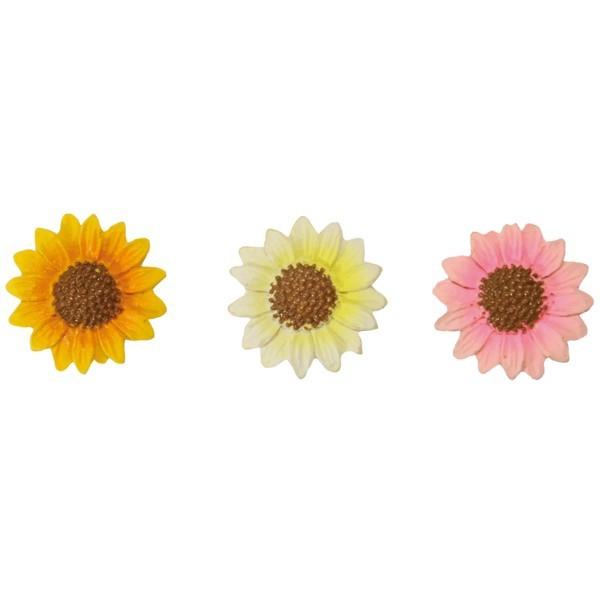 Relief-Sonnenblumen, Steinharz, 3 Farben, Ø 2,5 cm, 10er Set