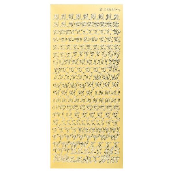 Sticker, Alphabet 1 Großbuchstaben, Spiegelfolie gold