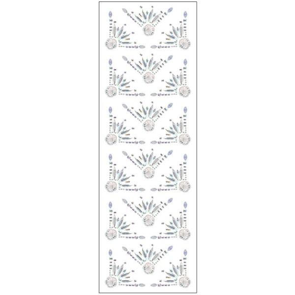 Kristallkunst, Zierecken-Ornament 2, 10cm x 30cm, selbstklebend, klar irisierend
