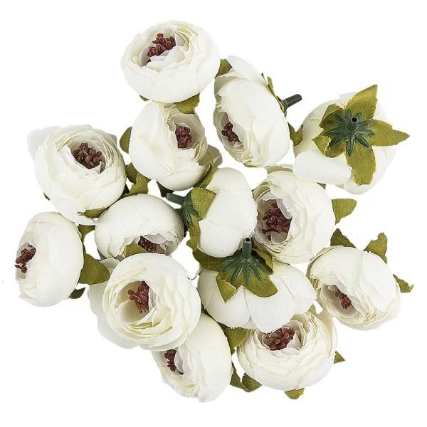 """Deko-Blüten """"Ranunkel 3"""", Ø 4cm, weiß, 14 Stück"""