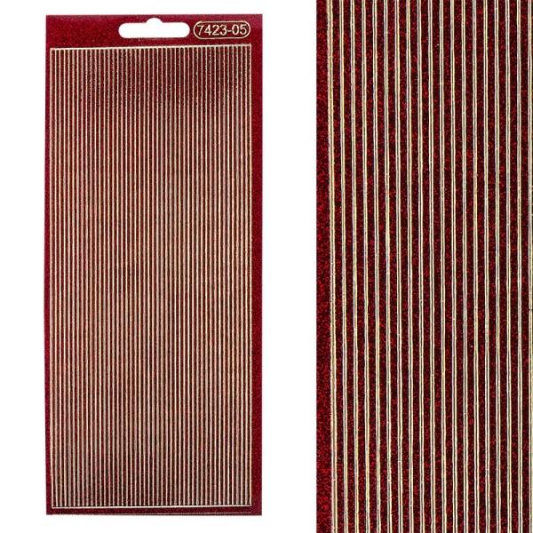 Microglitter-Sticker, Linien, 2mm, rot