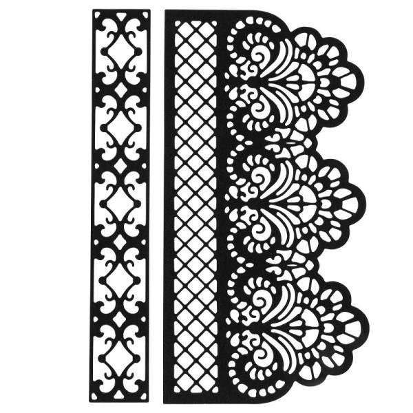 Stanzschablonen, Bordüren 2, 1: 13,4cm x 2,1cm, 2: 13,4cm x 6,9cm, 2 Stück
