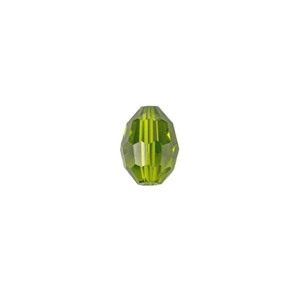 Perlen, Ovale, facettiert, 0,6cm x 0,8cm, olivgrün, 30 Stück