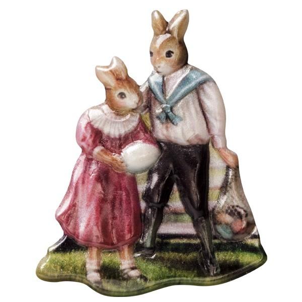 Wachsornament Osterhasenpaar, farbig, geprägt, 6-7cm