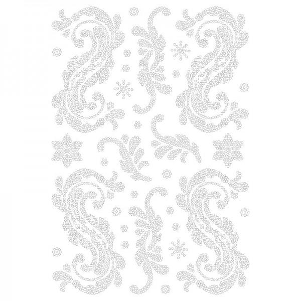 Bügelstrass-Design, DIN A4, klar, Blatt-Ornamente 4