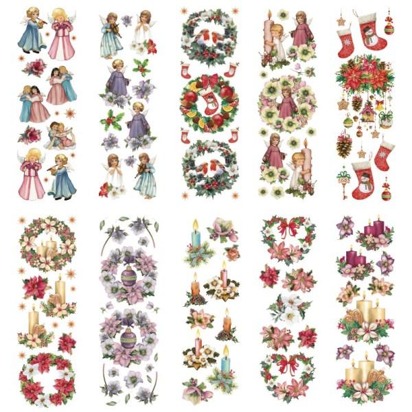 Transparent-Stickerbogen, Engel & weihnachtliche Floristik, versch. Designs, 10cm x 30cm, 10 Bogen