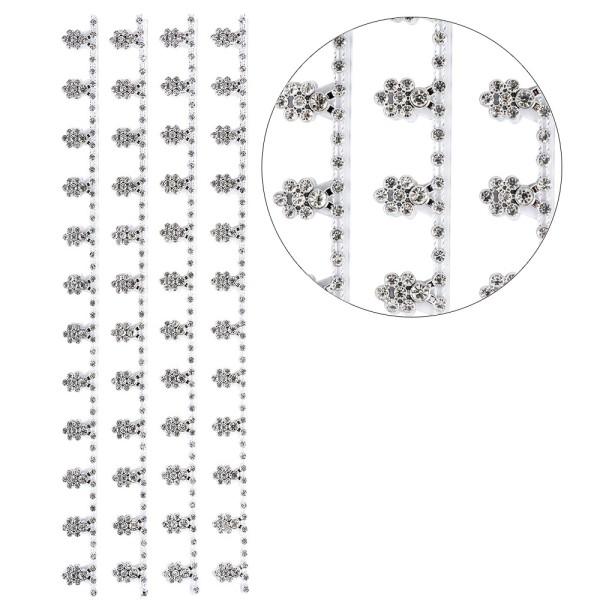 Premium-Schmuck-Bordüren, Blütenranke, selbstklebend, 28cm, mit Glaskristallen, silber