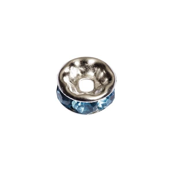 Strass-Rondell mit Strass-Steinen, Ø0,8 cm, 10 Stück, silber/aquamarin