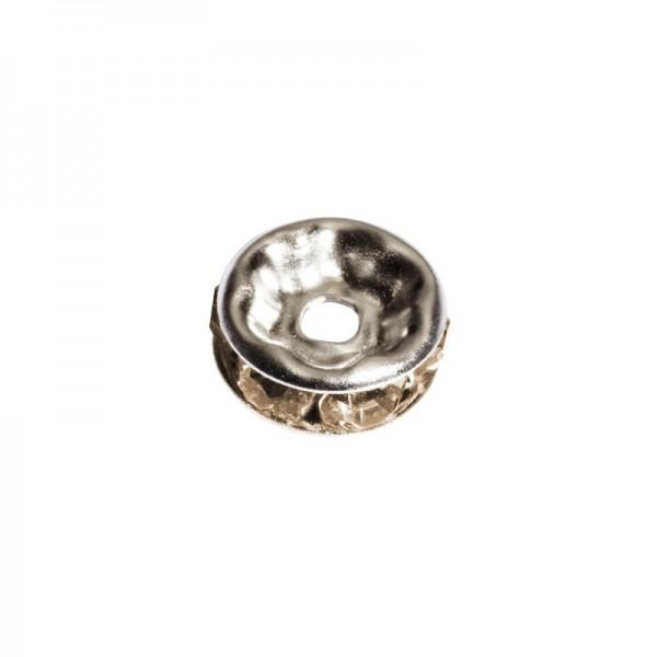 Strass-Rondell mit Strass-Steinen, Ø0,8 cm, 10 Stück, silber/citrin