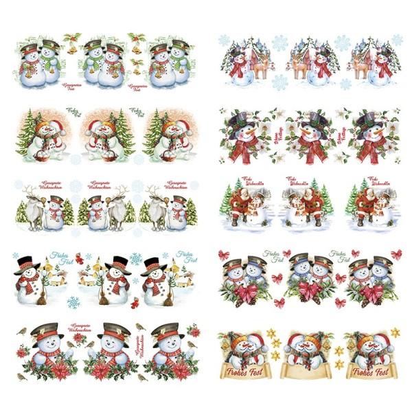 Transparent-Sticker, Schneemänner, 10cm x 30cm, 10 Bogen