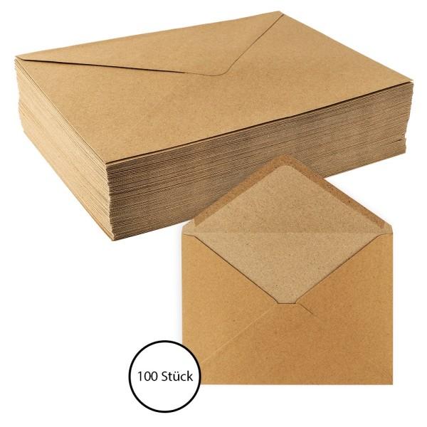Umschläge, Kraftpapier, DIN C5 (16,2cm x 22,9cm), 110 g/m², 100 Stück