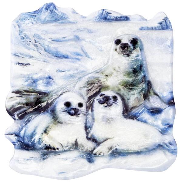 Wachsornament Tiere im Winter 10, farbig, geprägt, 7cm
