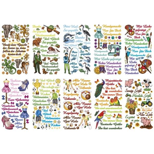 Glimmer-Relief-Sticker, Hobbys & Gelegenheiten, 11,5x20cm, 10 Stück