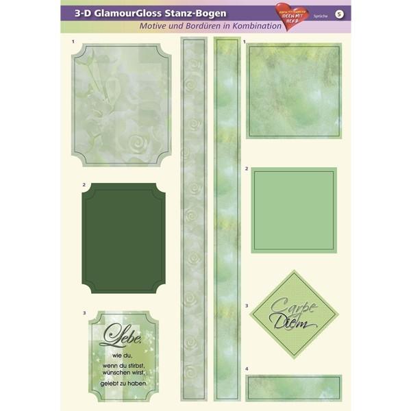 3-D GlamourGloss Bogen, Sprüche, DIN A4, Motiv 5