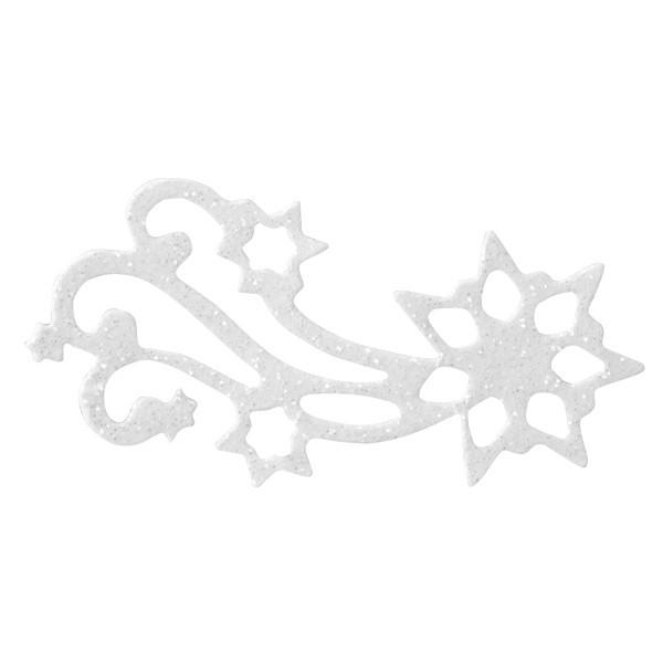 Glitzer-Ornamente, 25er Set, 3x6cm, Stern 2, weiß-irisierend