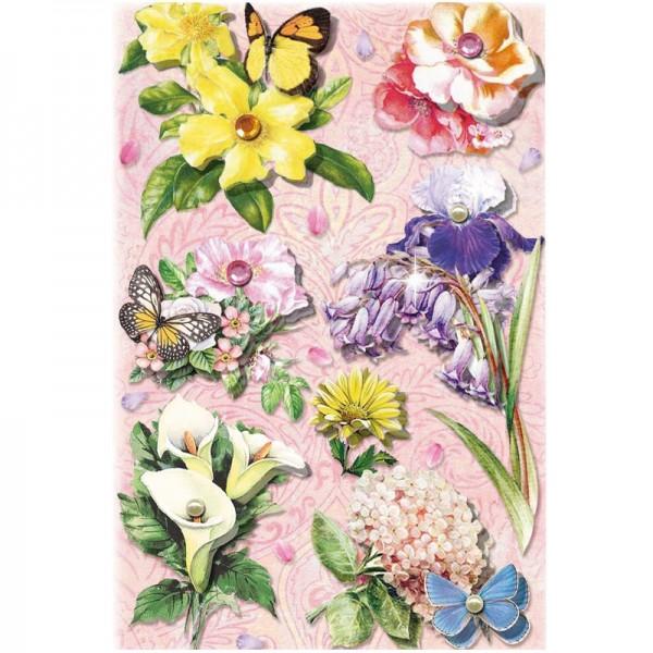 3-D Stickerbogen, Blumen auf Rosa 2, 12,7 x 18,8 cm