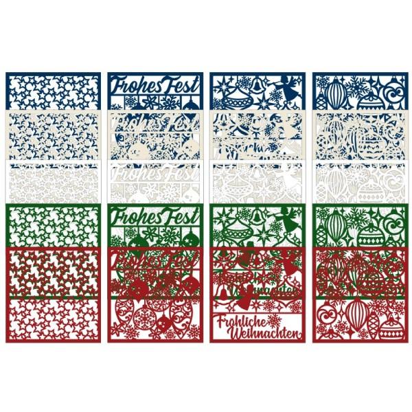 Laser-Kartenaufleger, Winter/Weihnachten 2, 14cm x14cm, 4 versch. Designs, 5 Farbtöne, 20 Stück