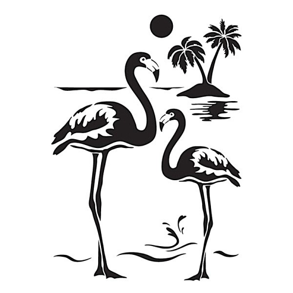 Laser-Kunststoff-Schablone, DIN A4, Flamingos