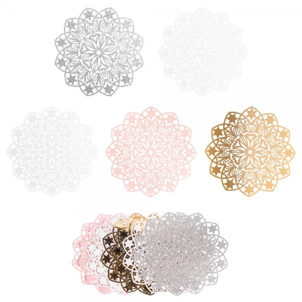 XL-Laser-Ornamente, Zierdeckchen 3, verschiedene Farben, Ø 20cm, 10 Stück